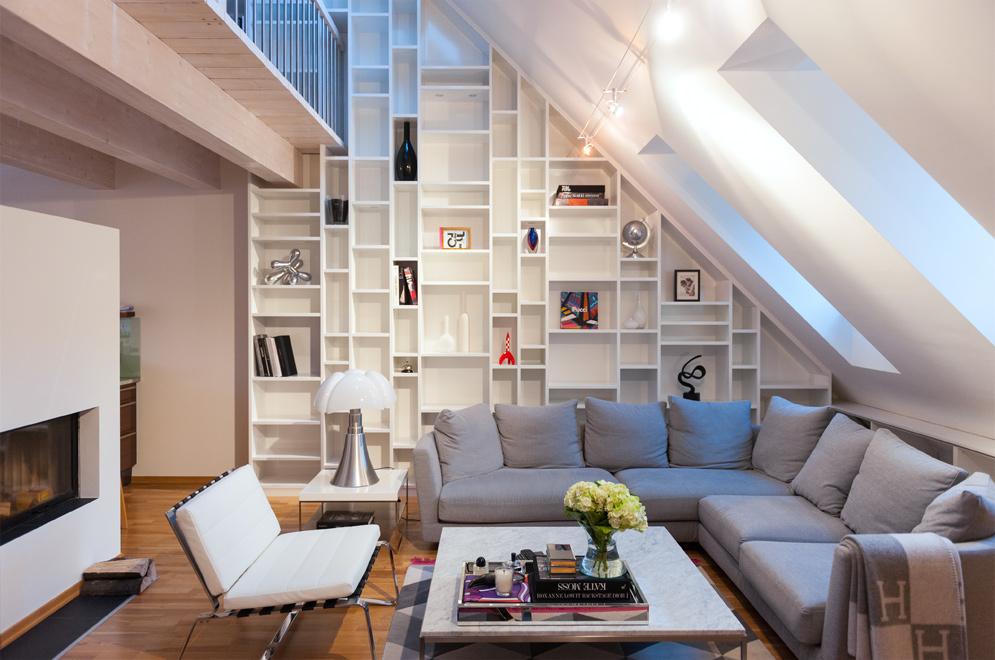 Woonkamer landelijk boekenkast for Z vormige woonkamer inrichten